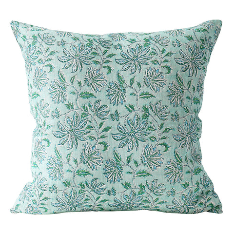 Uluwatu Emerald linen cushion 50x50cm