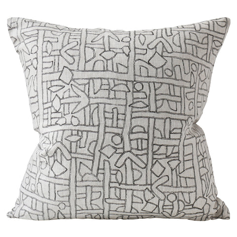 Zaire Dark Mud linen cushion 55x55cm