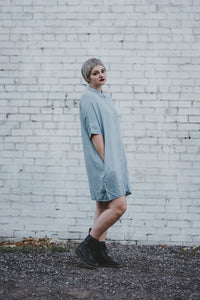 Chambray Button-Up Dress