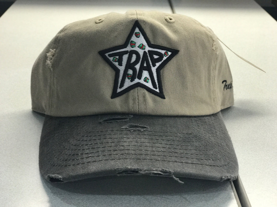 TrapStar MoneyStacks Khaki and Black Distressed Dad Hat