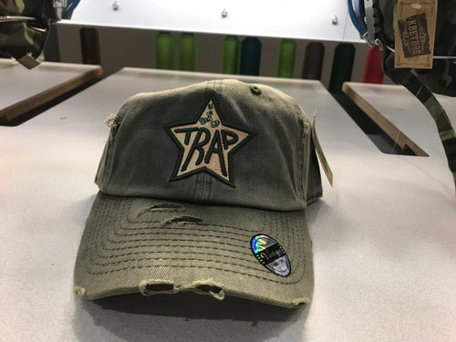 TrapStar Distressed Stonewashed Olive Green Dad Hat* OUT OF STOCK*