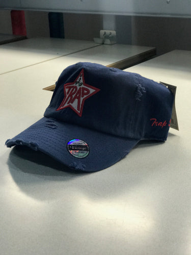 TrapStar Distressed Navy Blue Dad Hat * OUT OF STOCK*