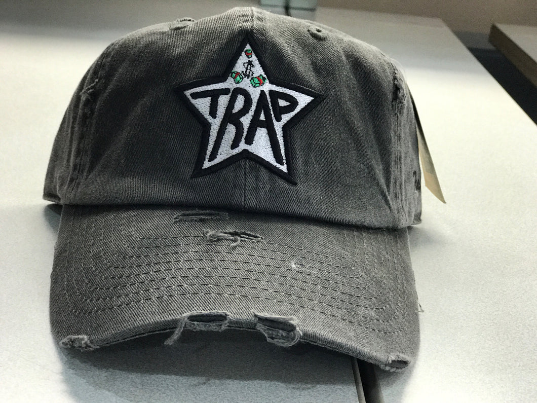 TrapStar Distressed Stonewashed Grey Dad Hat * OUT OF STOCK*
