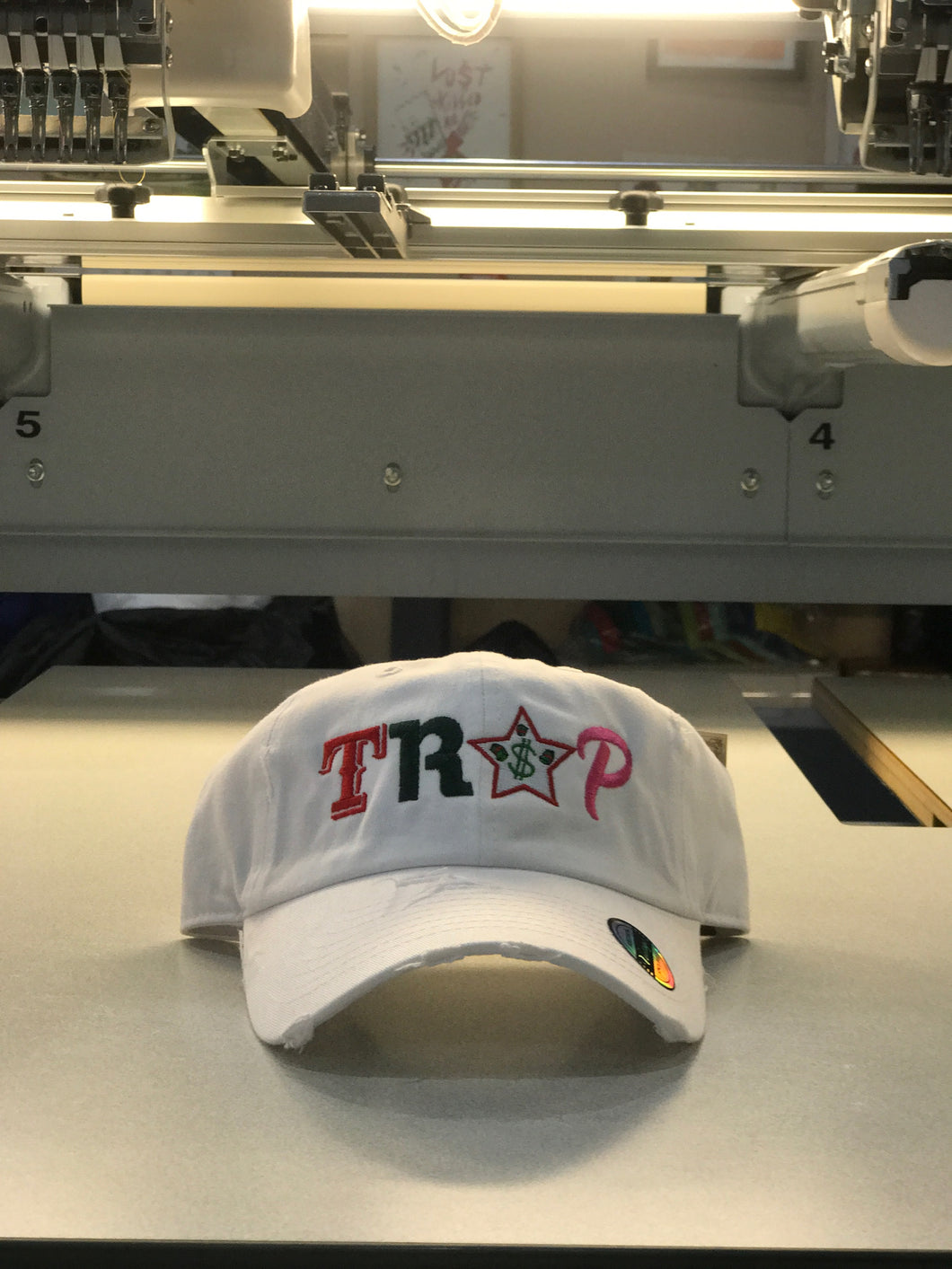 TrapFly Distressed Dad Hat White