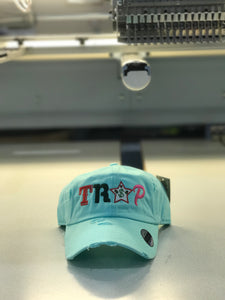 TrapFly Distressed Dad Hat Sky Blue