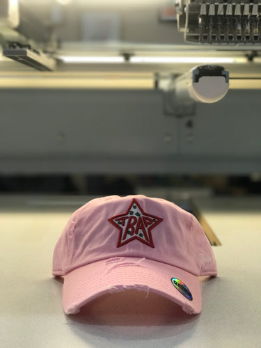 TrapStar Distressed Dad Hat Light Pink