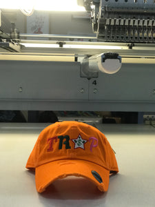 TrapFly Distressed Dad Hat Orange