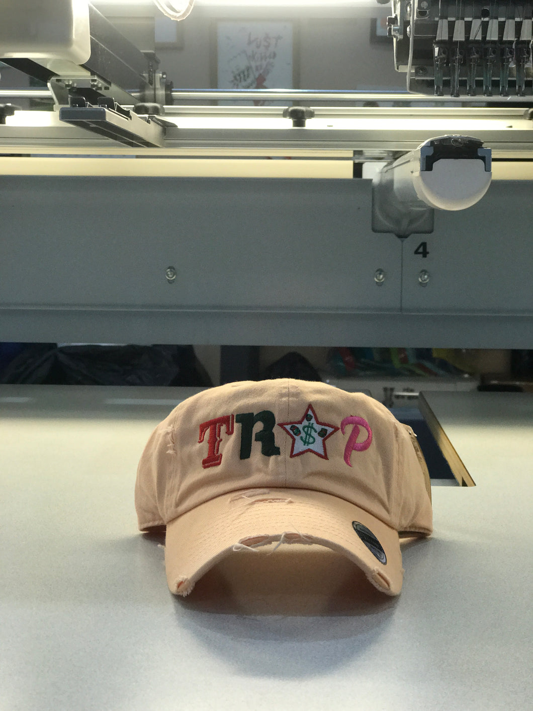 TrapFly Distressed Dad Hat Peach