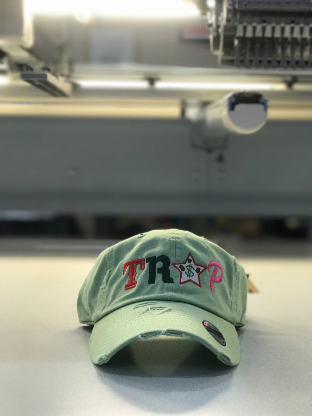 TrapFly Distressed Dad Hat Lime
