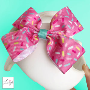 babbleworthy, summer docband, summer cranial band, avery's band bows, cranial band decorations, girl helmet bow