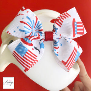 *LIMITED STOCK* 4th of July Unicorn Baby Girl Cranial Band Helmet Bow for Starband Doc Band