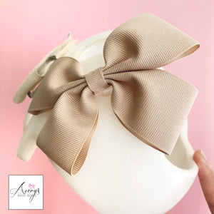*LIMITED STOCK* Baby Girl Cranial Band Bow for Plagio Cranio Helmet, Oatmeal