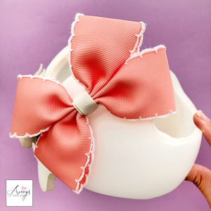 *VERY LIMITED STOCK* Apricot Baby Girl Cranial Band Helmet Bow for Starband Doc Band