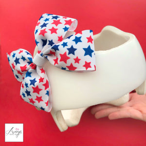 *LIMITED STOCK* Patriotic Stars Baby Girl Cranial Band Helmet Bow for Starband Doc Band