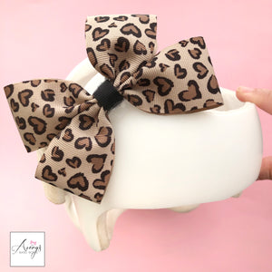 Leopard Baby Girl Cranial Band Helmet Bow for Starband Doc Band