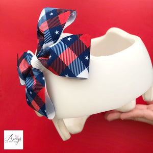 *LIMITED STOCK* Patriotic Plaid Baby Girl Cranial Band Helmet Bow for Starband Doc Band