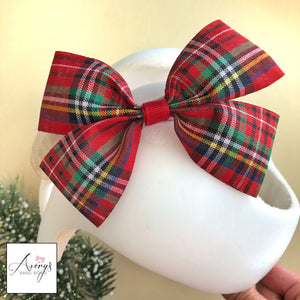 *LIMITED STOCK* Cranial Band Bow for Plagio Cranio Helmet, Holiday Christmas Plaid