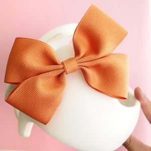*LIMITED STOCK* Baby Girl Cranial Band Bow for Plagio Cranio Helmet, Pumpkin