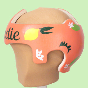 "Lemon Floral ""Sadie"" Baby Girl Cranial Band Sticker Decals"