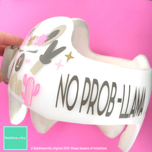 No Prob-Llama Girl Llamaste Baby Helmet Decals, Custom Cranial Band Decal Design