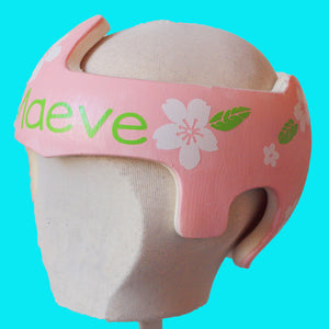 "White and Green ""Maeve"" Floral Baby Girl Helmet Sticker Cranial Band Decals"