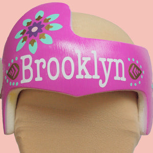 pink baby helmet, babbleworthy, pink cranial band, baby girl helmet, baby girl doc band, baby doc band decorations, doc band accessories, cranial band painting, paint your cranial band, paint baby helmet