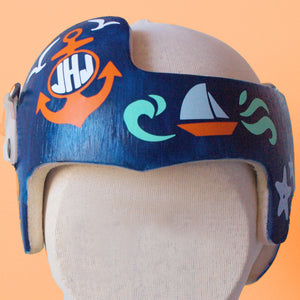underwater cranial band, nautical cranial band, nautical baby helmet, ocean baby helmet, ocean doc band, babbleworthy, baby boy helmet, doc band instructions, baby helmet decorating, diy baby helmet decoration