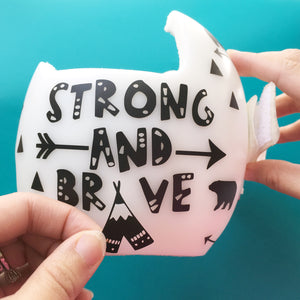 Strong and Brave Monochrome Modern Baby Helmet Decals