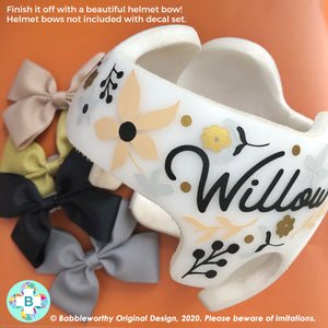 Neutral Floral Cranial Band Decals, Bows Not included