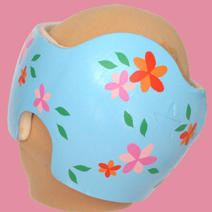 "Pink and Orange ""Charlotte"" Floral Baby Girl Cranial Band Decals"