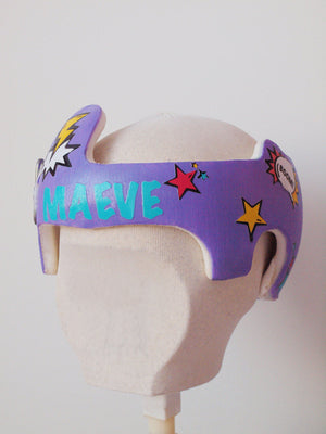Cranial Band Starband Doc Band Baby Helmet Decals , Personalized Superhero Comicbook Design for Baby Girl Helmet