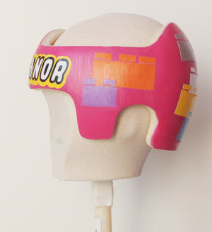 Cranial Band Starband Doc Band Baby Helmet Decals , Personalized LegoBlock- Inspired Design for Baby Helmet Girl