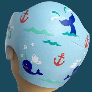 summer baby doc band, cool helmet baby, fixing my flat, fixin my flat, twins baby helmets, babbleworthy, nautical cranial band, narwhal baby