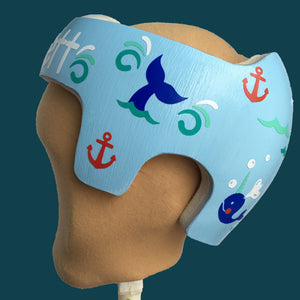 Summer Baby Helmet Decals, Narwhal Nautical Anchor Themed Cranial Band Decals