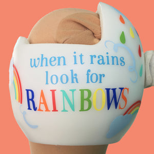 twins plagiocephaly, babbleworthy, rainbow baby helmet, paint your baby's helmet, cute baby helmet decals, cute cranial band decals, cute cranial band stickers, cranial band decorations, cranial band designs