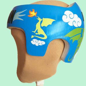 decorate your baby's helmet, babbleworthy, cranial band designs for boys, cranial band ideas, baby helmet painting, baby helmet paint, paint baby helmet, paint docband, dragon baby helmet