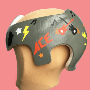 Boy Cranial Band Design Decals, Baby Helmet Stickers, Rock and Roll Music