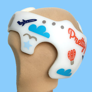 Baby helmet cranial band decals, Aviator Hot Air Balloon Airplane Helmet theme