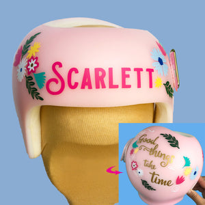 baby helmet decoration ideas, babbleworthy, starband baby helmet, plagiocephaly daughter helmet, cranial band bow, cranial band accessories, cranial band wrap vs decals, cranial band stickers