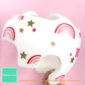 Daughter Cranial Band Decals, Baby Girl Helmet Stickers, Rainbow and Stars