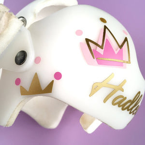 Princess Baby Girl Helmet Decals, Crown and Dot Gold and Pink Fixing My Crown Stickers