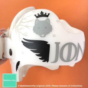 Jon Snow Game of Thrones Inspired Cranial Band Baby Helmet Sticker Decals