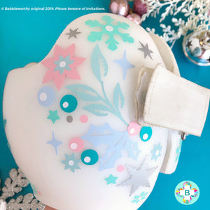 Snowflake Floral Shine Winter Holiday Baby Helmet Decals