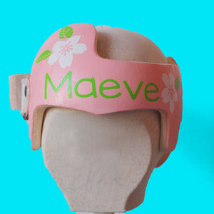 babbleworthy, spring baby girl cranial band, baby girl helmet, baby girl plagiocephaly, cranial band decoration, cranial band bows, cranial band accessories, floral baby helmet, floral band decals