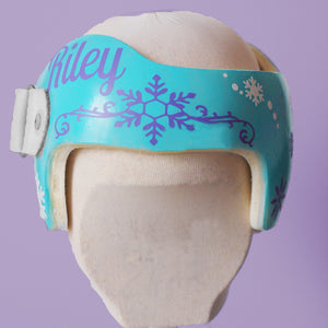 winter baby helmet, babbleworthy, winter doc band, winter cranial band, princess doc band, princess baby helmet, cranial band accessories, cranial band bows, baby girl helmet