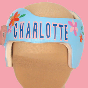 baby girl floral doc band, baby girl helmet, babbleworthy, girl doc band, doc band decorations, cranial band accessories, cranial band decorating, cranial band paint, how to decorate your baby's helmet