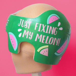 just fixing my melon, fixing my melon, babbleworthy, baby helmet decals, babbleworthy decals, baby girl watermelon helmet, fixing my flat, doc band girl, girl star band, paint baby helmet, paint cranial band