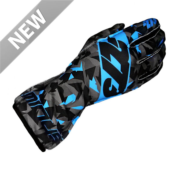 -273 Camo Glove Black/Cyan Blue - XXXS