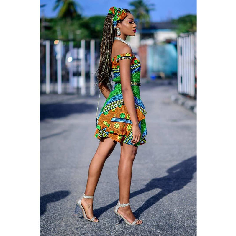 Yemi Multicolor Ankara African Print Two Set