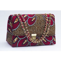 RED/BROWN SHELL TEWA ANKARA AFRICAN PRINT BAG